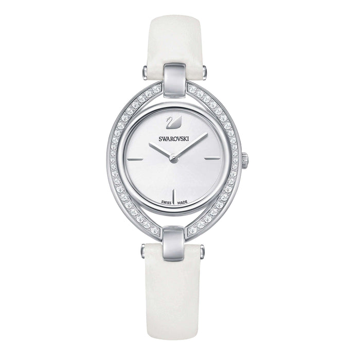 Swarovski Stella Watch, Leather Strap, White, Stainless Steel