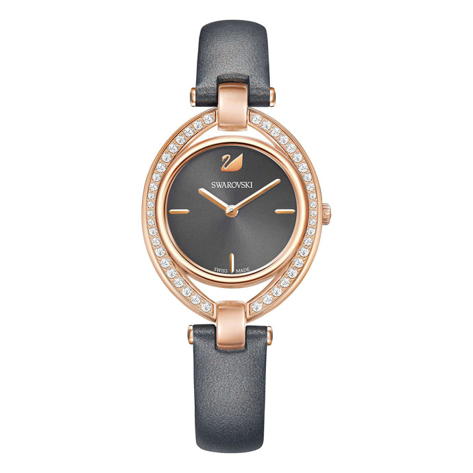 Swarovski Stella Watch, Leather Strap, Dark Gray, Rose Gold Tone