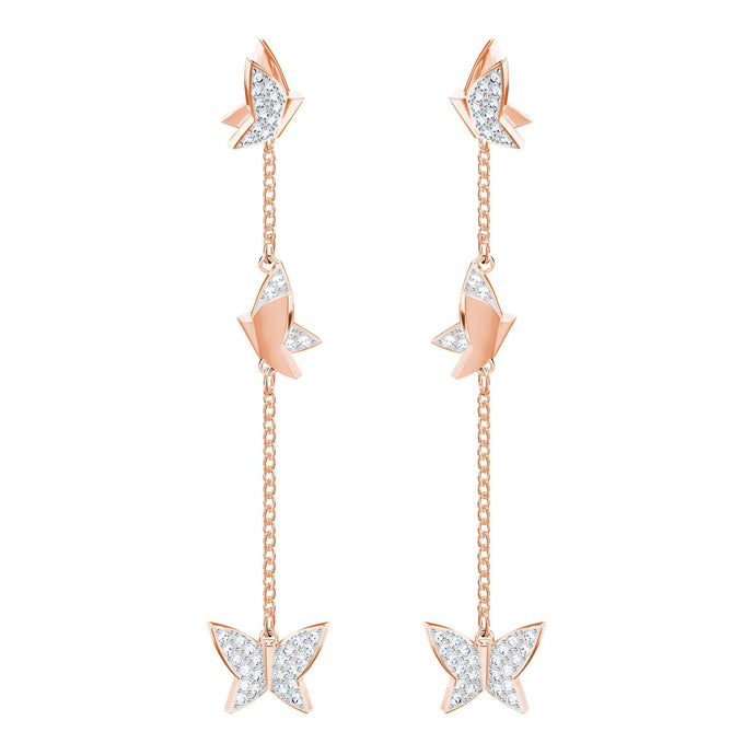Swarovski Lilia Pierced Earrings, White, Rose Gold Plating