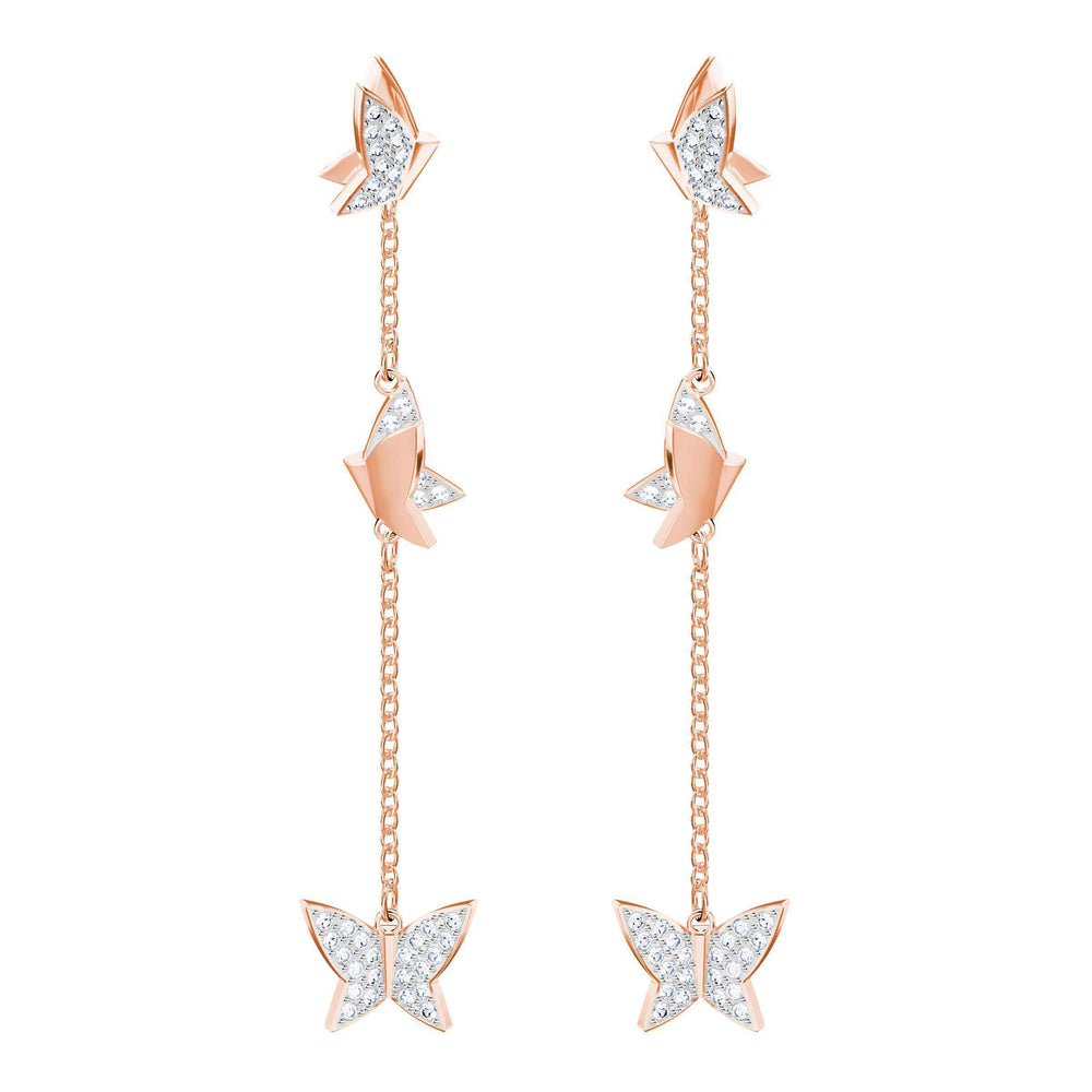 Lilia Pierced Earrings, White, Rose Gold Plating