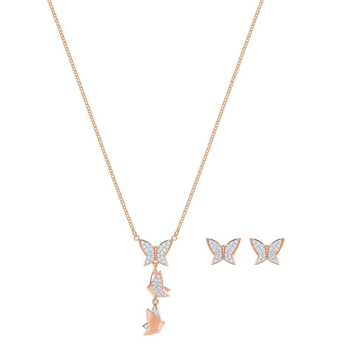 Swarovski Lilia Set, White, Rose Gold Plating