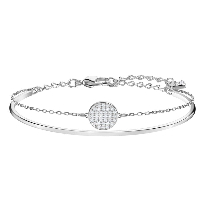 Ginger Bangle, White, Rhodium Plating