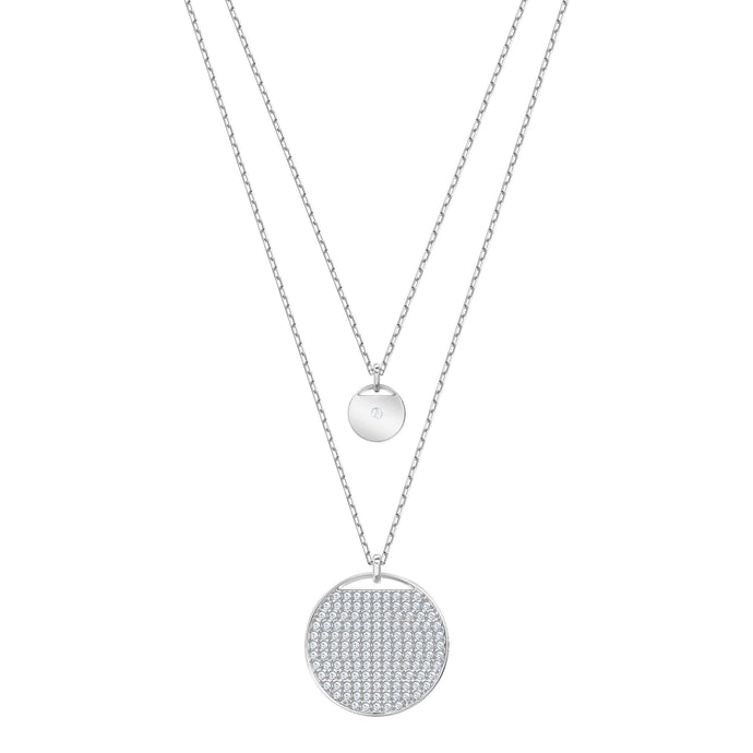 Swarovski Ginger Layered Pendant, White, Rhodium Plating