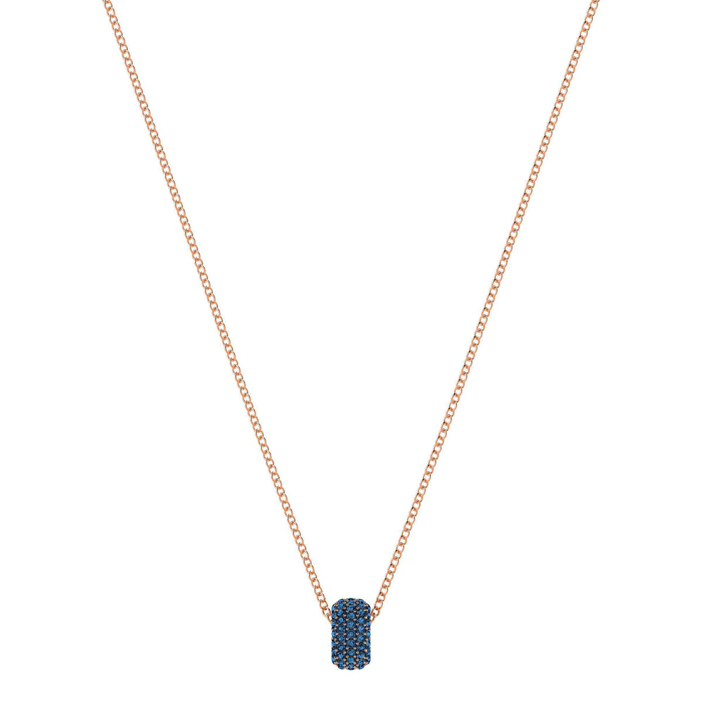 Stone Round Pendant, Blue, Rose Gold Plating