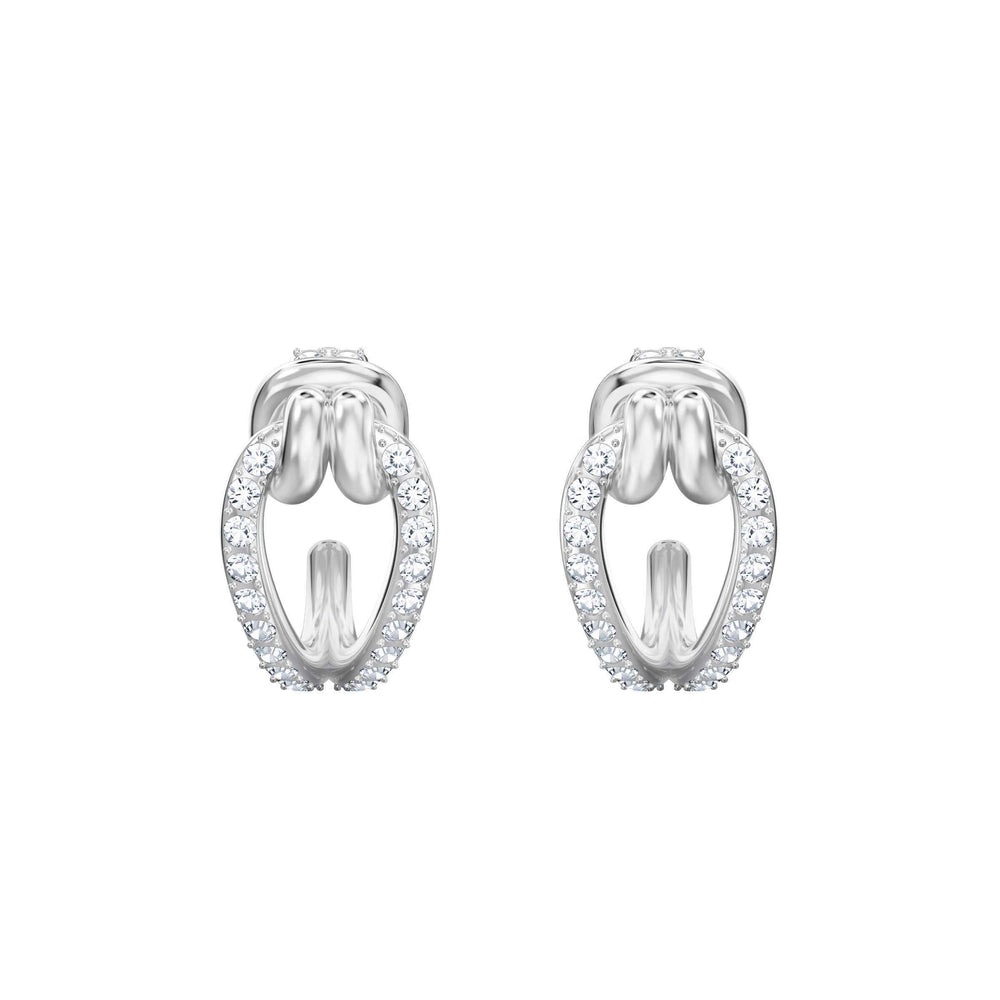 Swarovski Lifelong Hoop Pierced Earrings, Small, White, Rhodium Plating