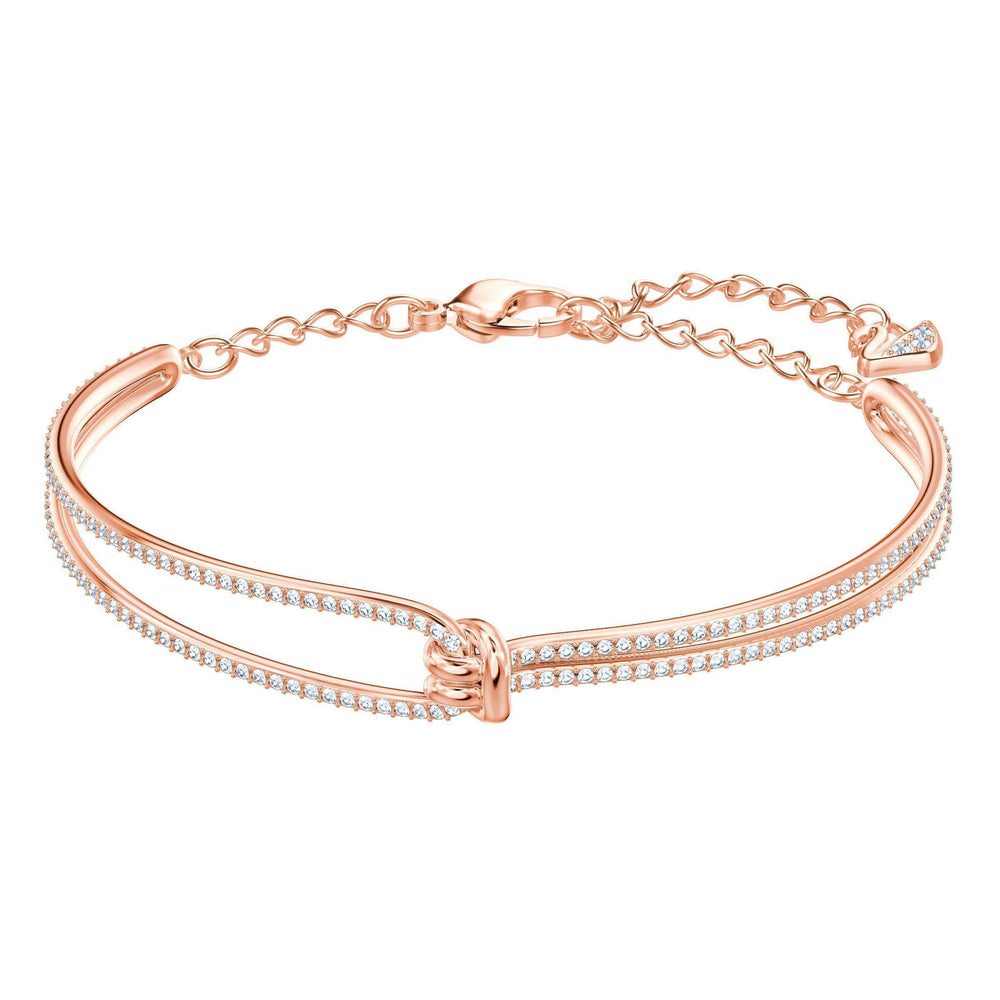 Swarovski Lifelong Bangle, White, Rose Gold Plating