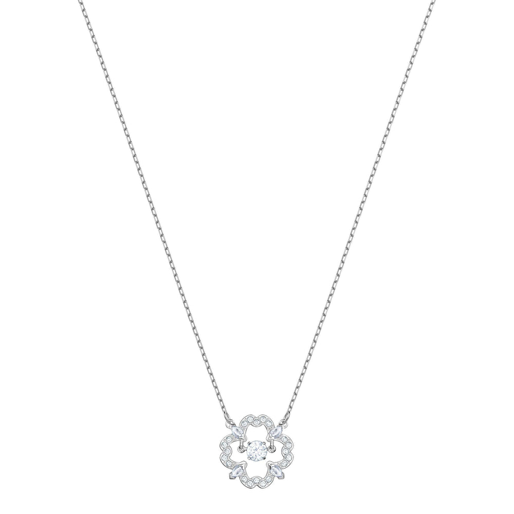 Swarovski Sparkling Dance Flower Necklace, White, Rhodium Plating