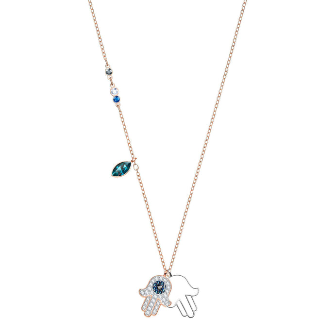 Swarovski Duo Hamsa Hand Pendant, Multi-Colored, Mixed Plating