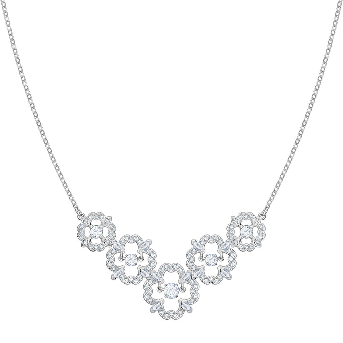 Swarovski Sparkling Dance Flower Necklace, Medium, White, Rhodium Plating