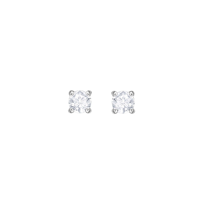 Swarovski Attract Round Pierced Earrings, White, Rhodium Plating