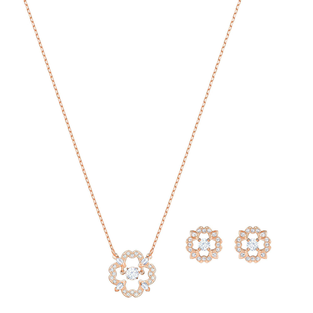 Sparkling Dance Flower Set, White, Rose Gold Plating
