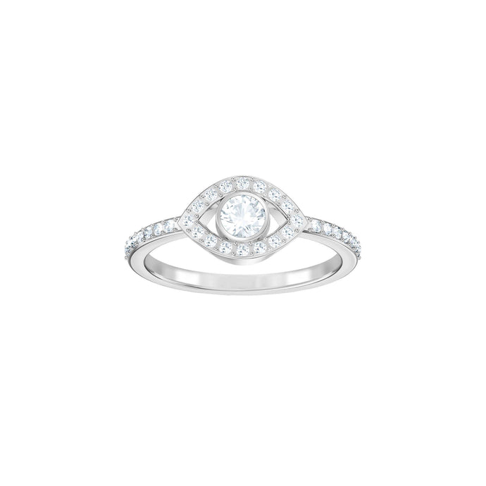 Swarovski Luckily Evil Eye Ring, White, Rhodium Plating