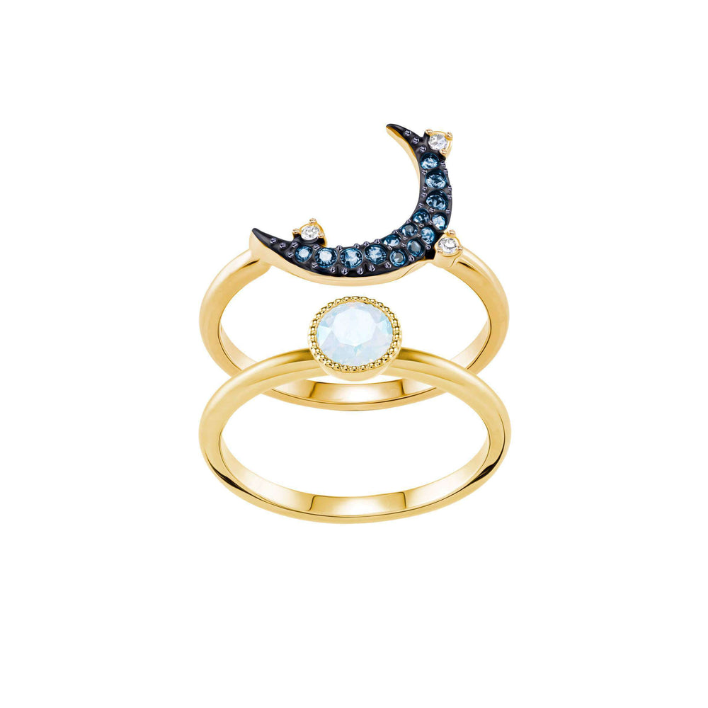 Swarovski Duo Moon Ring, Teal, Mixed Plating