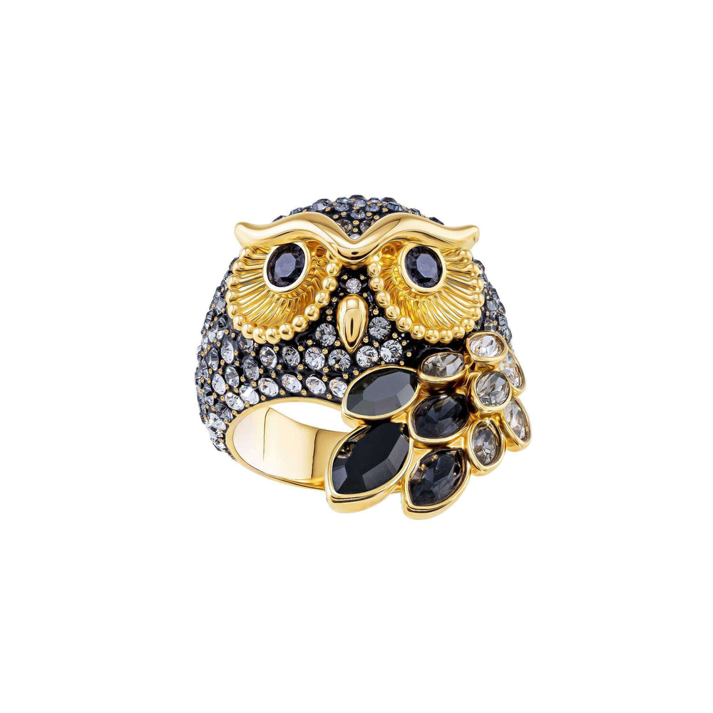 March Owl Motif Ring, Multi-Colored, Gold Plating