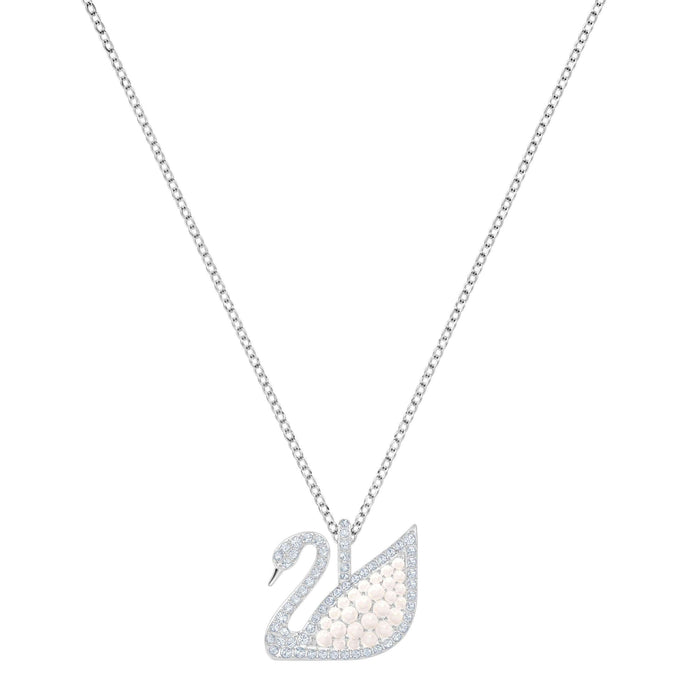 Iconic Swan Pendant, White, Rhodium Plating