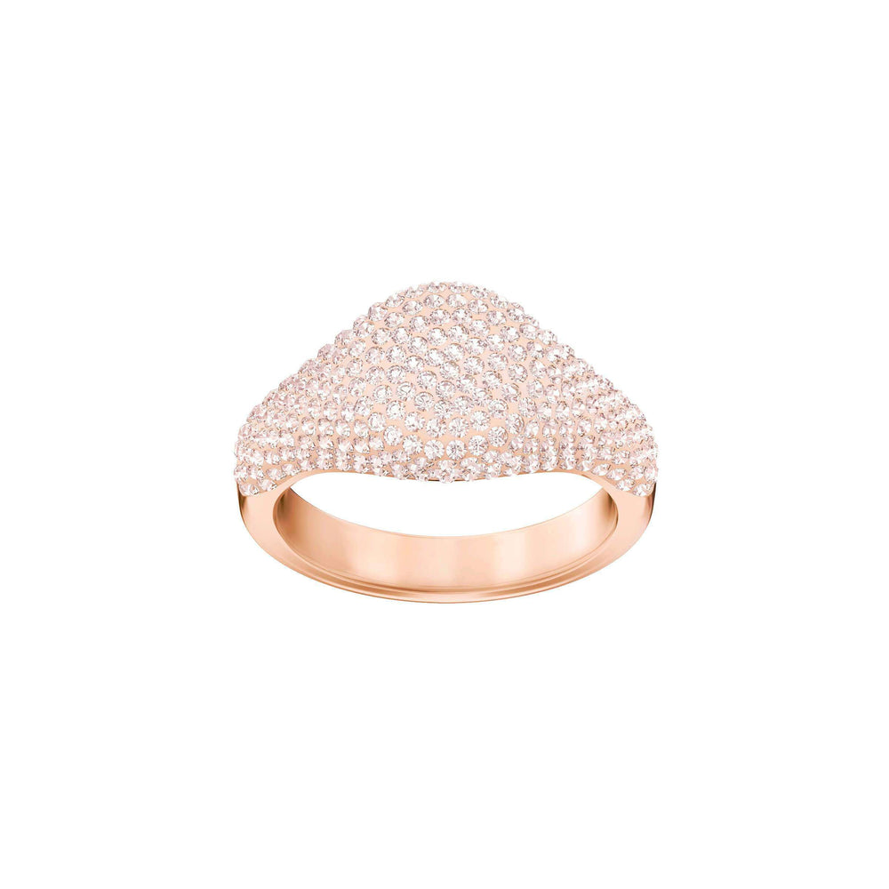 Stone Signet Ring, Pink, Rose Gold Plating