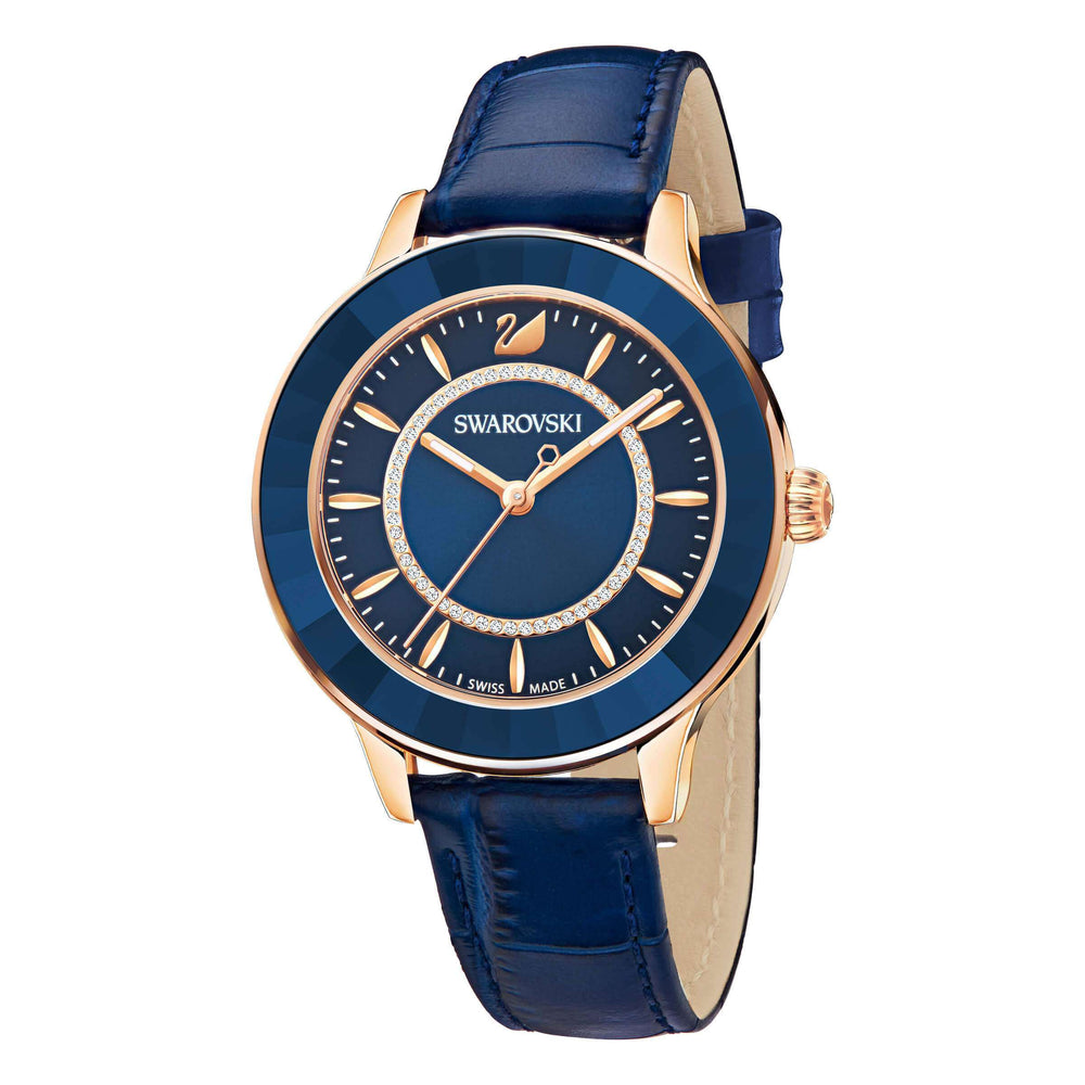 Swarovski Octea Lux Watch, Leather Strap, Blue, Rose Gold Tone