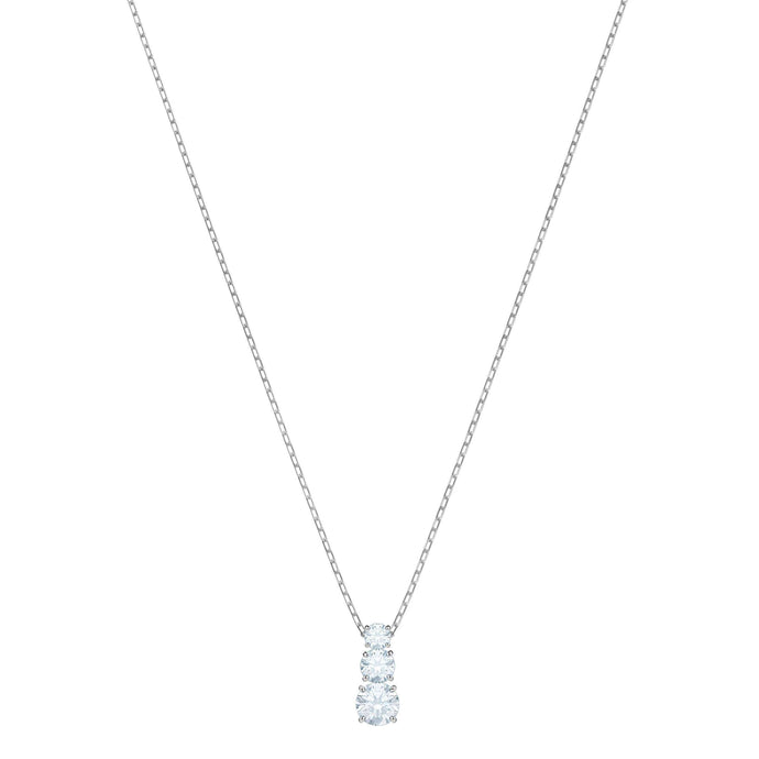 Swarovski Attract Trilogy Round Pendant, White, Rhodium Plating