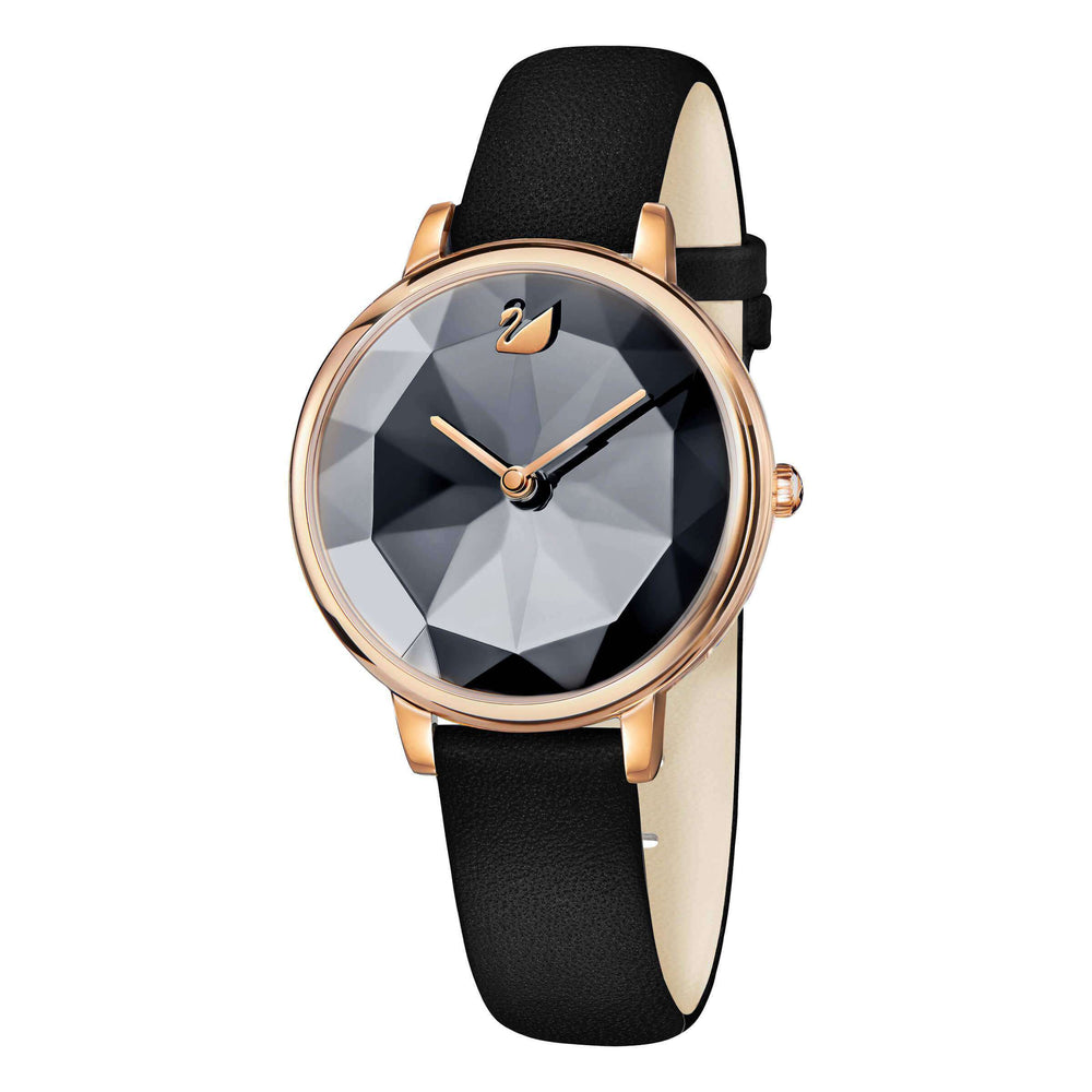 Swarovski Crystal Lake Watch, Leather Strap, Black, Rose Gold Tone