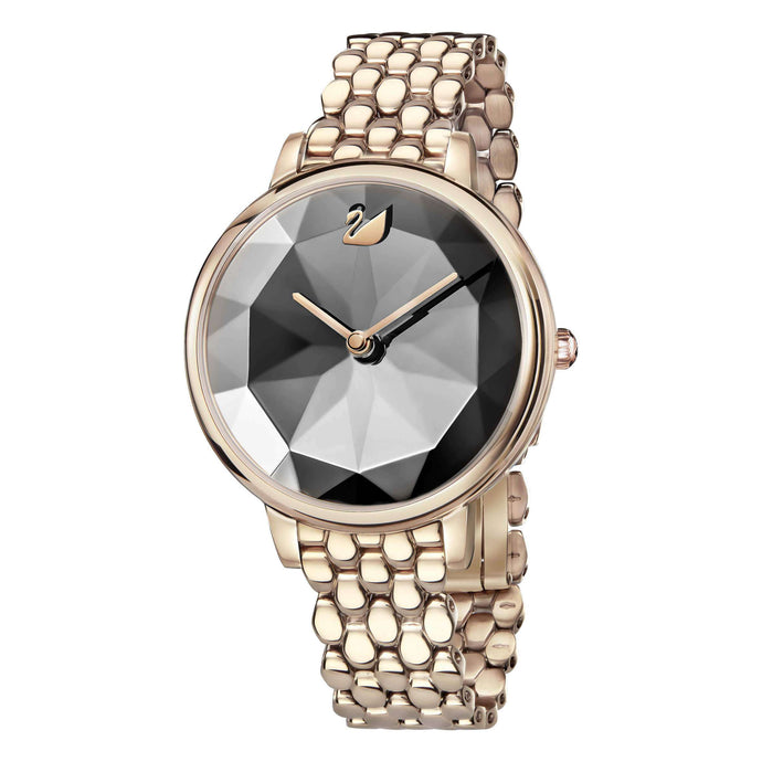 Crystal Lake Watch, Metal Bracelet, Dark Gray, Champagne Gold Tone