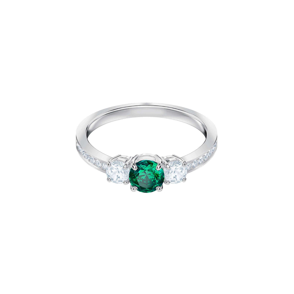 Swarovski Attract Trilogy Round Ring, Green, Rhodium Plating