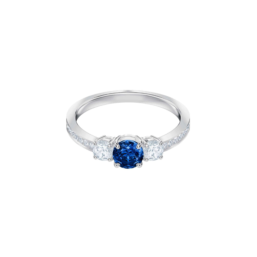 Attract Trilogy Round Ring, Blue, Rhodium Plating