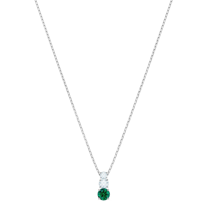 Attract Trilogy Round Pendant, Green, Rhodium Plating