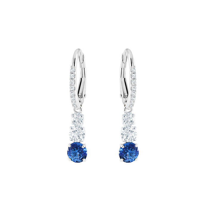 Attract Trilogy Round Pierced Earrings, Blue, Rhodium Plating