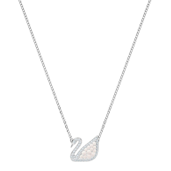 Iconic Swan Necklace, White, Rhodium Plating