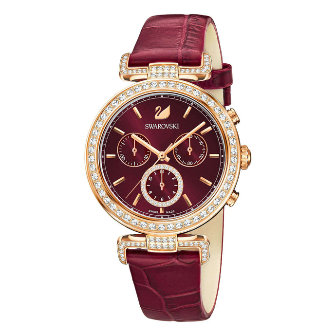 Swarovski Era Journey Watch, Leather Strap, Dark Red, Rose Gold Tone