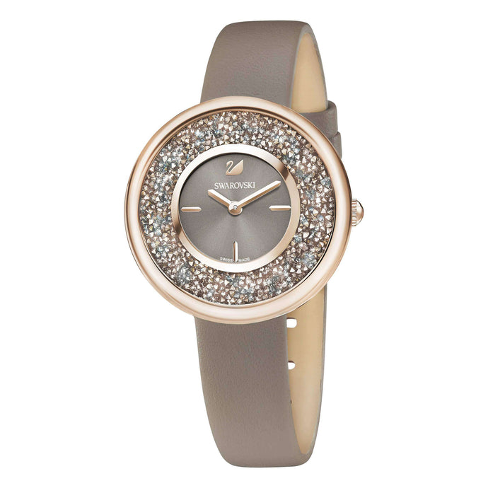 Crystalline Pure Watch, Leather Strap, Champagne Gold Tone