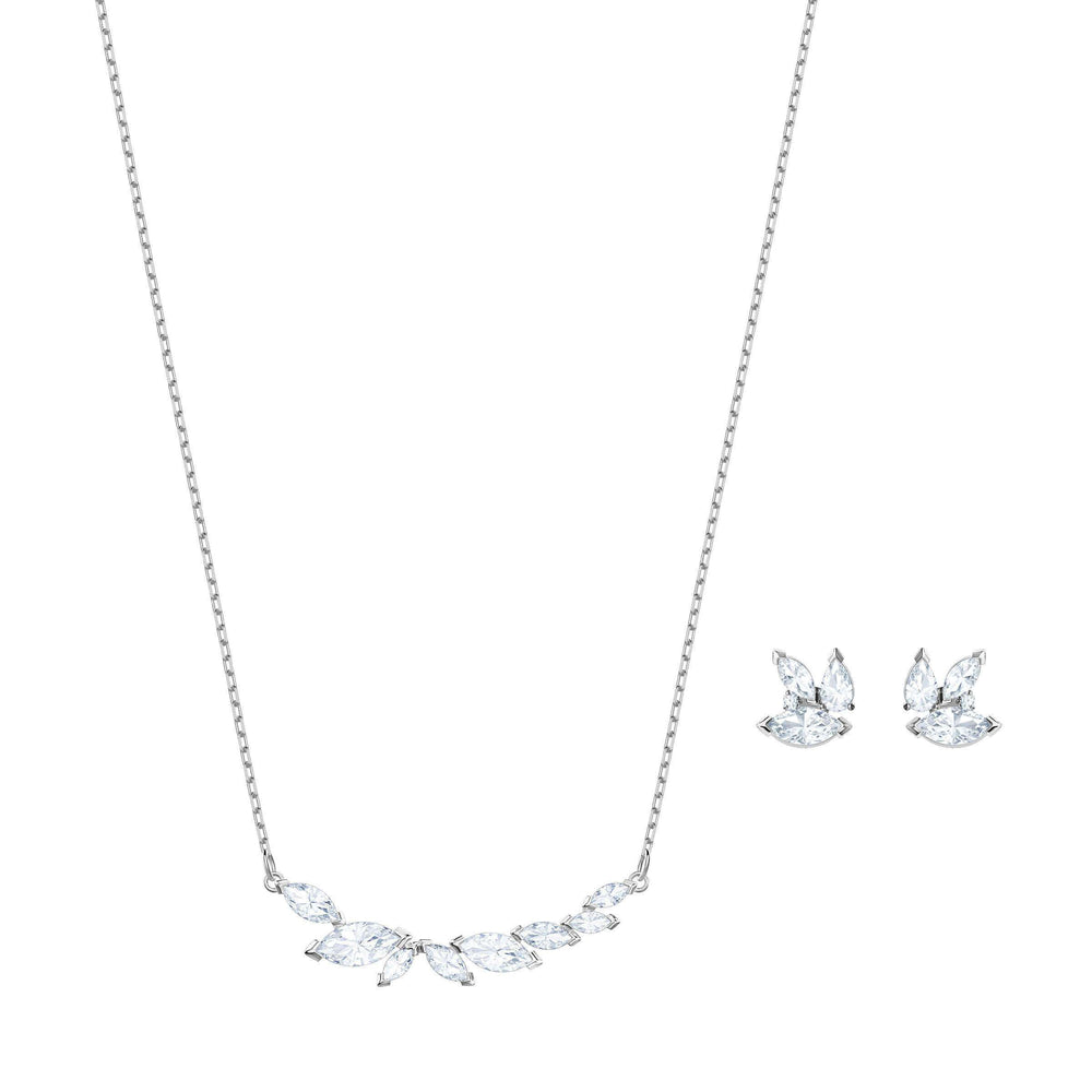 Louison Set, White, Rhodium Plating