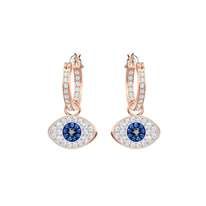 Swarovski Duo Evil Eye Hoop Pierced Earrings, Multi-Colored, Rose Gold Plating
