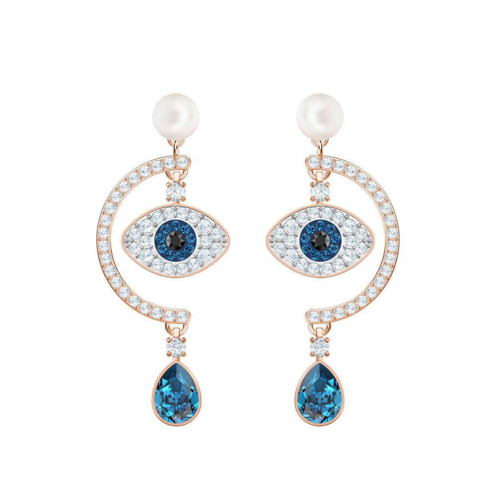 Swarovski Duo Evil Eye Pierced Earrings, Multi-Colored, Rose Gold Plating