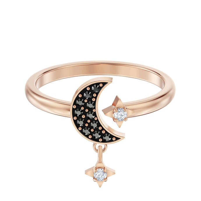 Swarovski Swarovski Symbolic Moon Motif Ring, Black, Rose-gold tone plated