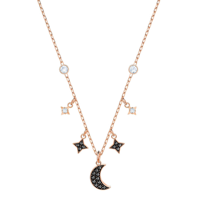 Swarovski Duo Moon Necklace, Black, Rose Gold Plating