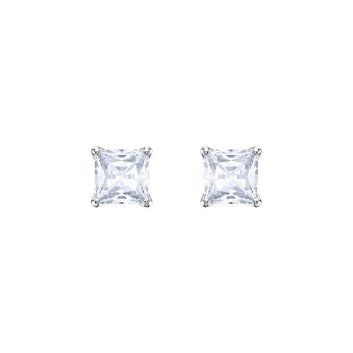 Attract Stud Pierced Earrings, White, Rhodium Plating