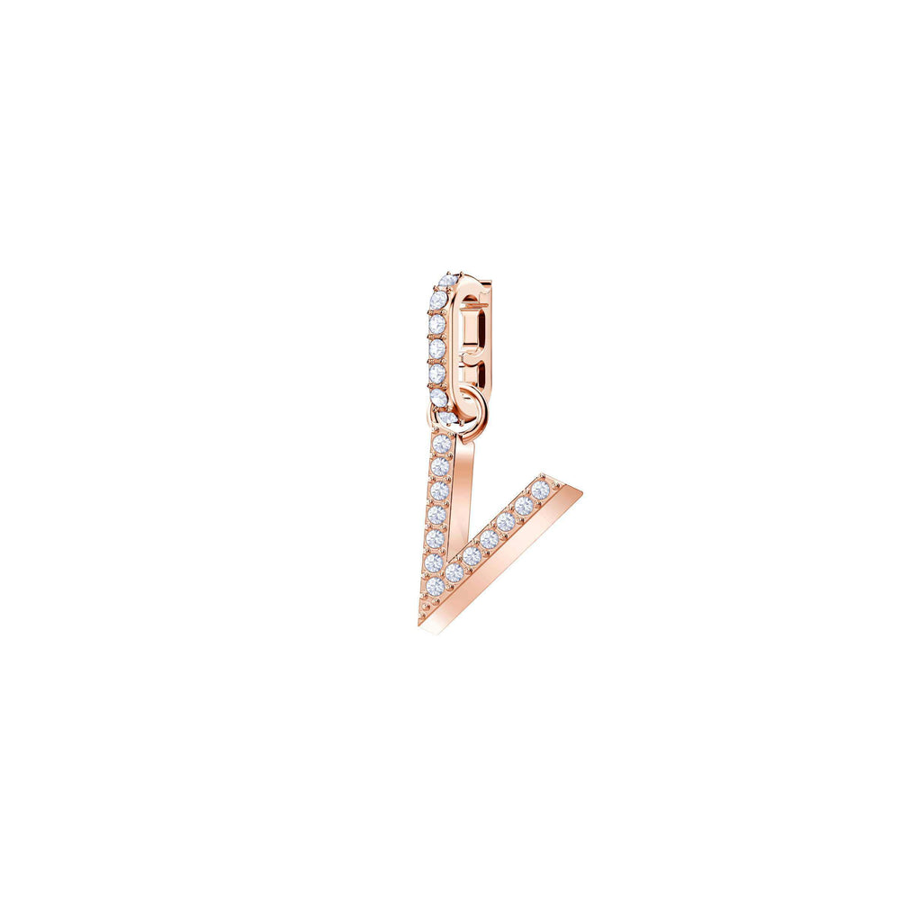 Swarovski Swarovski Remix Collection Charm V, White, Rose Gold Plating