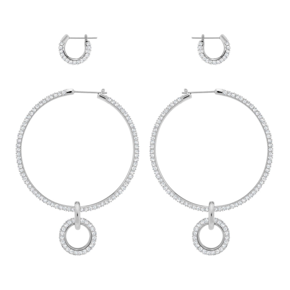 Stone Pierced Earring Set, White, Rhodium Plating