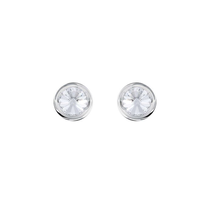 Swarovski Round Cuff Links, White, Stainless Steel