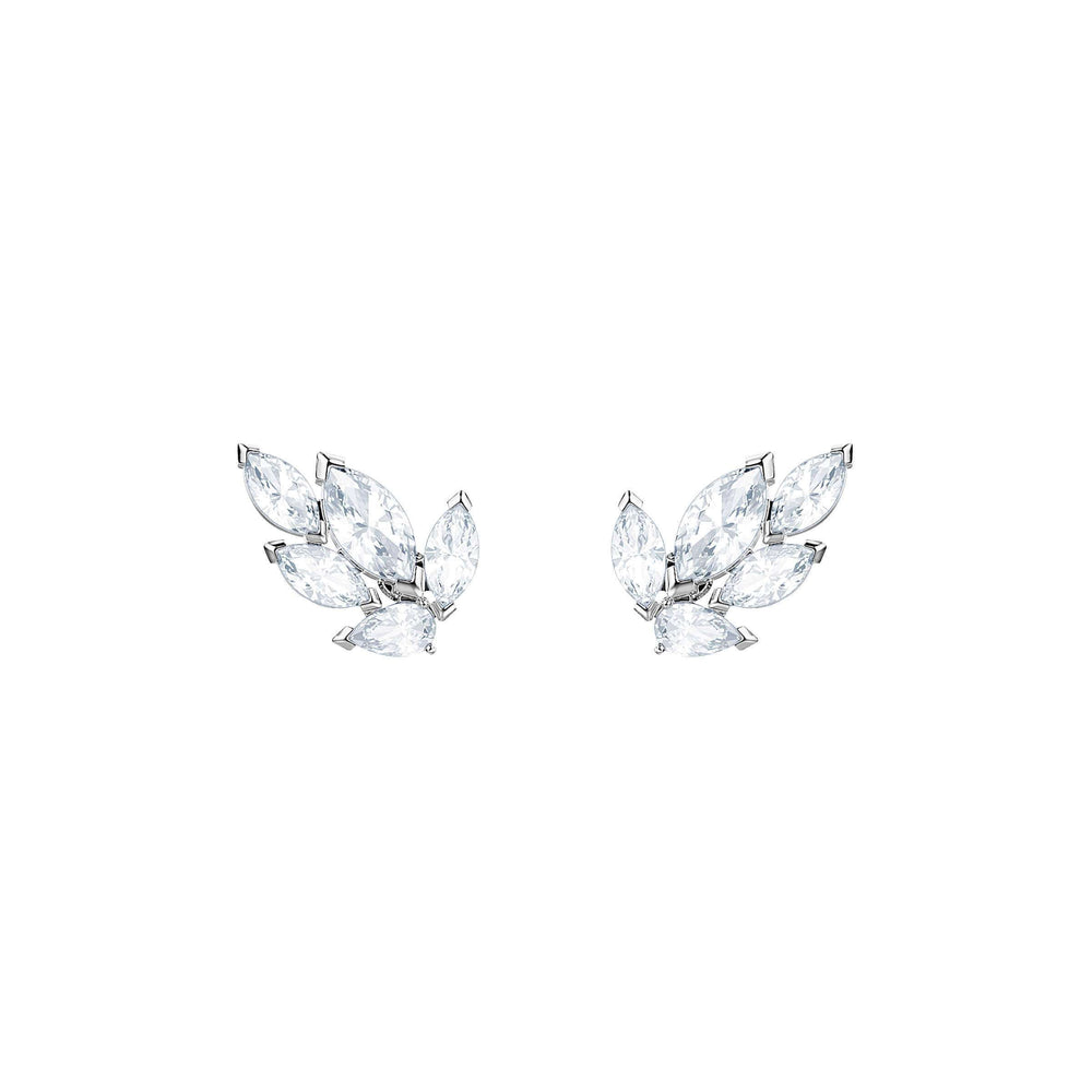 Louison Stud Pierced Earrings, White, Rhodium Plating