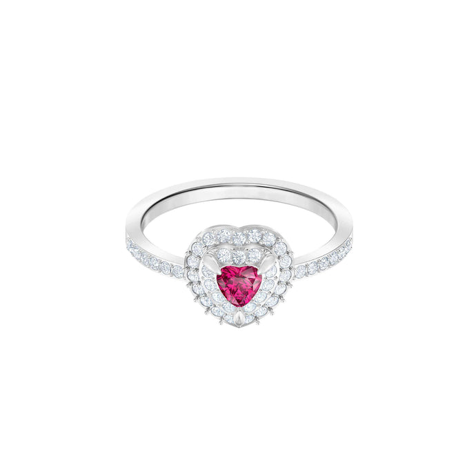Swarovski One Ring Medium, Red, Rhodium plating