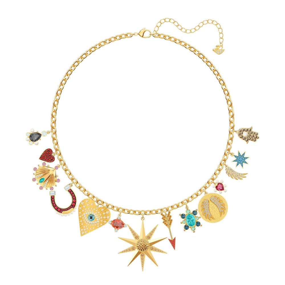 46f6d2a82 Lucky Goddess Charms Necklace, Multi-colored, Gold plating