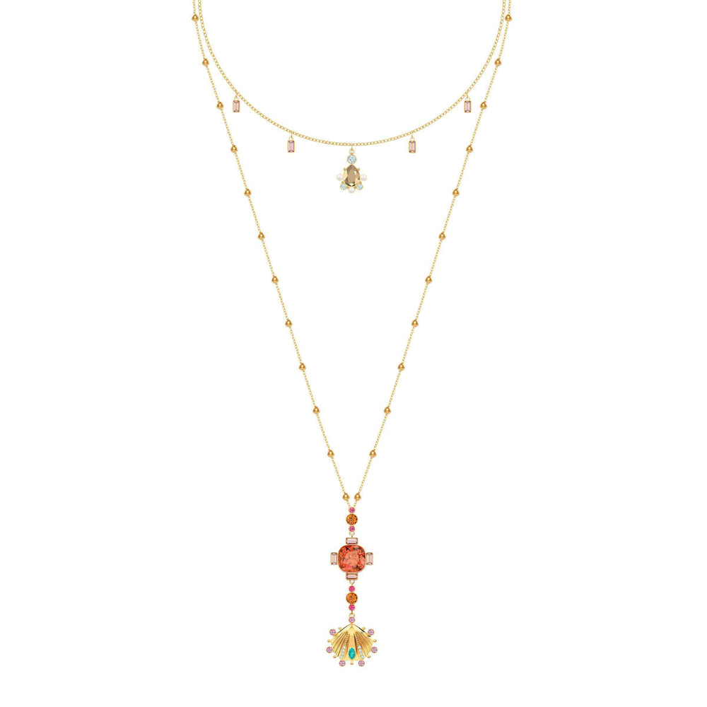 dacd7c9ec Lucky Goddess Necklace, Multi-colored, Gold plating