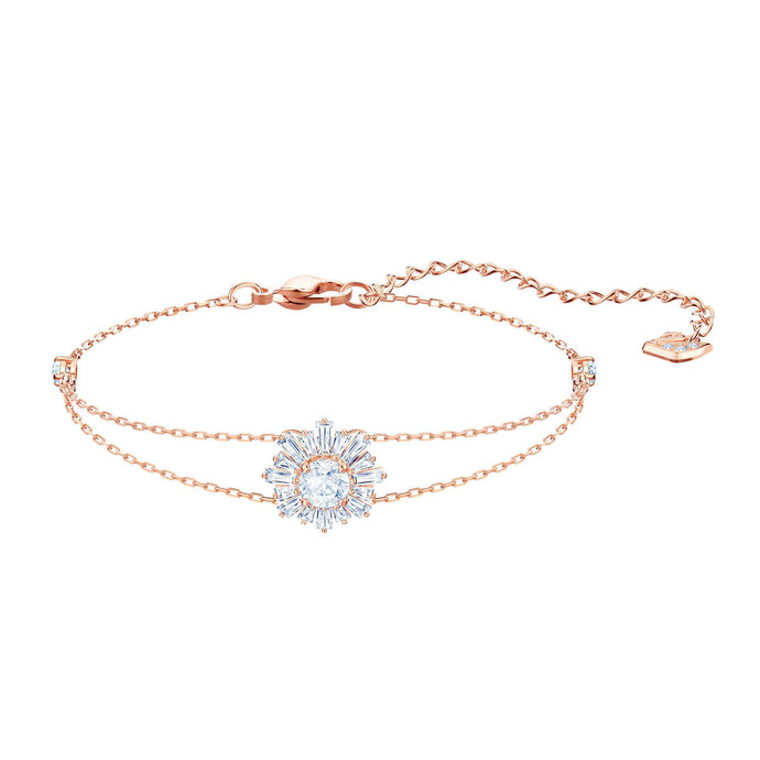 Sunshine Bracelet, White, Rose gold plating
