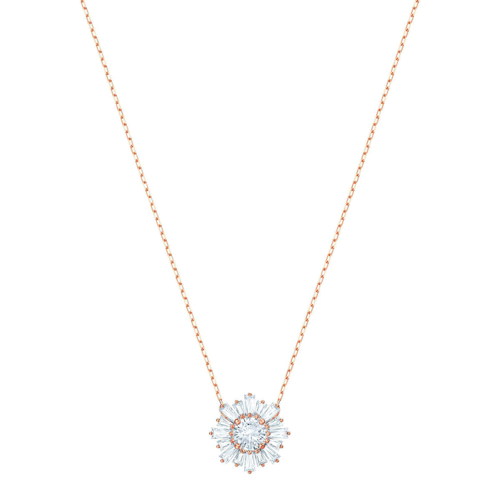 Sunshine Pendant, White, Rose gold plating