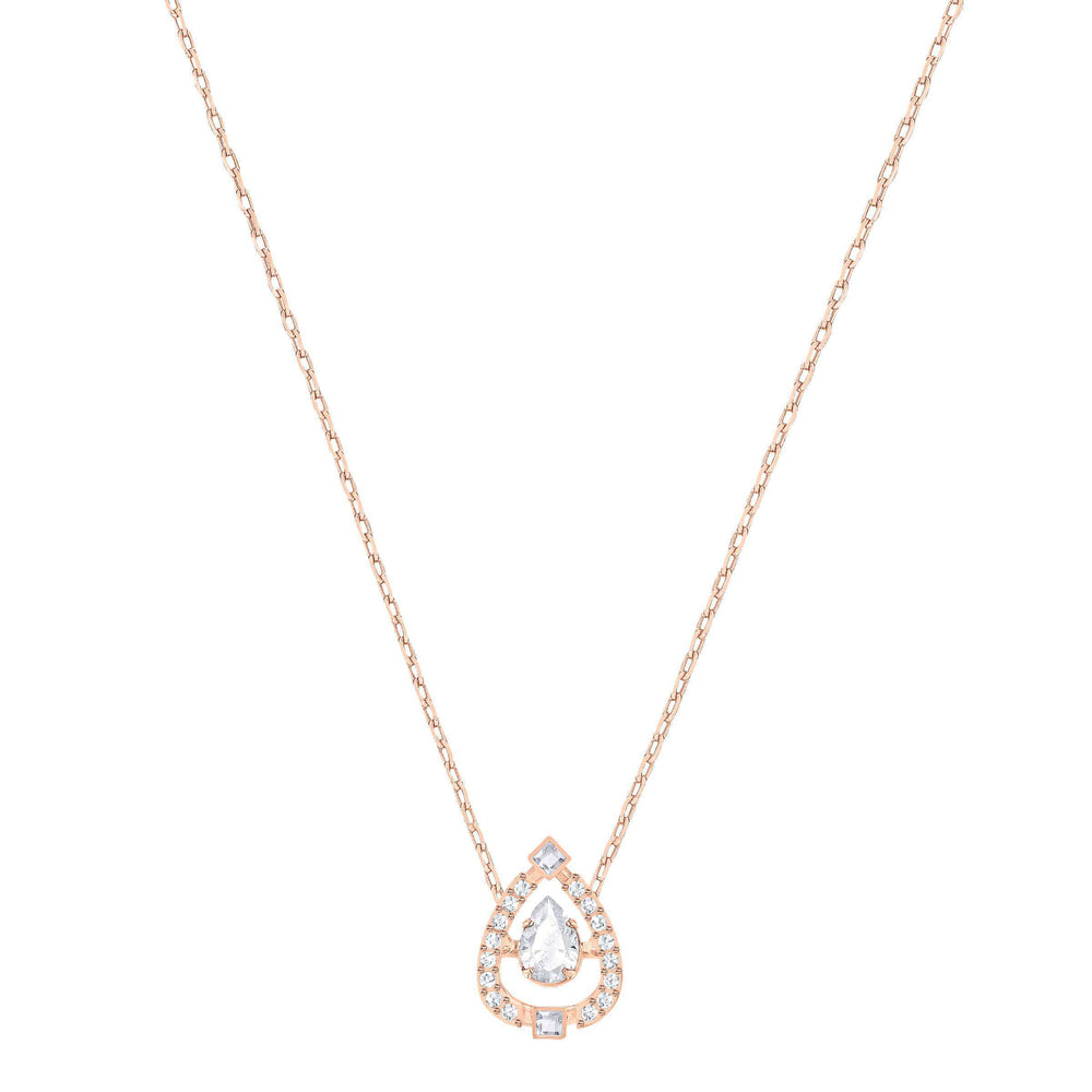 Sparkling Dance Flower Necklace, White, Rose Gold Plating
