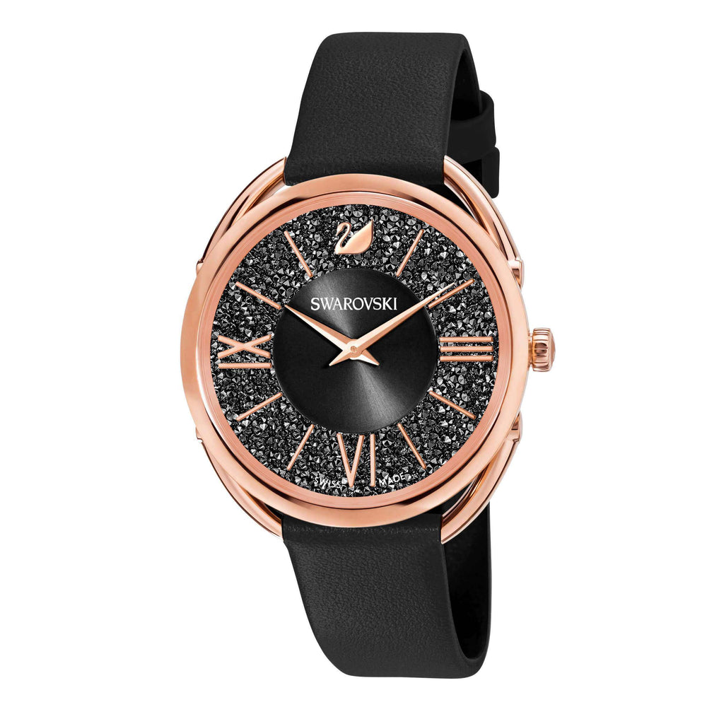 Swarovski Crystalline Glam Watch, Leather Strap, Black, Rose gold tone