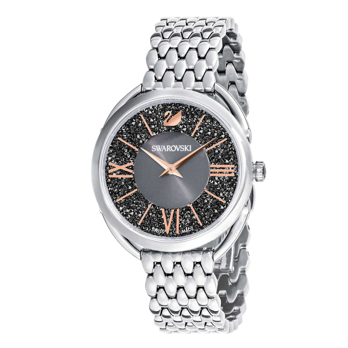 Crystalline Glam Watch, Metal Bracelet, Gray, Silver tone