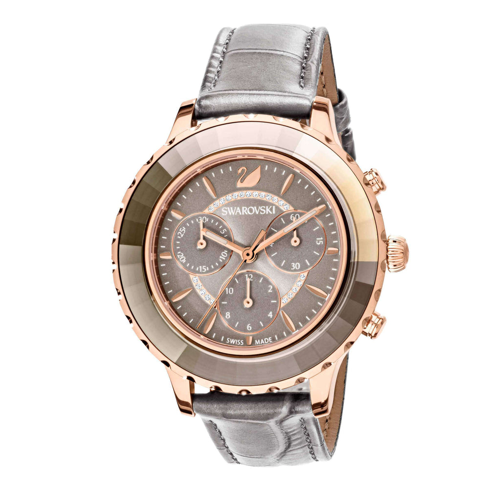 Swarovski Octea Lux Chrono Watch, Leather Strap, Gray, Rose gold tone